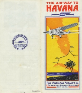 Front and back cover of Pan Am's first timetable.  Reproduction of the original eight page folder.