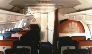 Interior of Boeing 707 in All-Economy Charter Configuration.