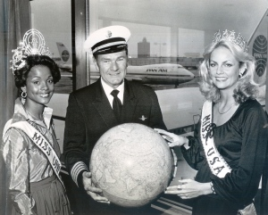 (left to right) Janelle Penny Commissiong, the reigning Miss Universe; Captain Walter H. Mullikin, Vice President and Chief Pilot; Kimberly Louise Tomes, Miss USA.