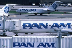 Pan Am SHuttle Boeing 727-200s at the Marine Air Terminal, La Guardia AIrport, New York.  (phot by George Hamlin)