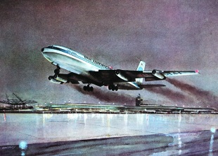 John T. McCoy watercolor of the takeoff of Flight 114.