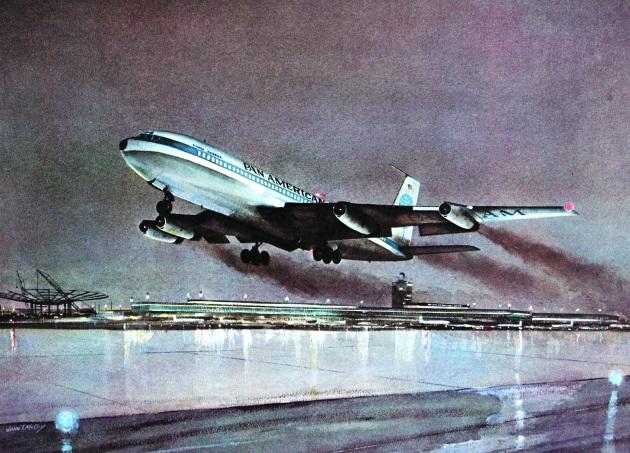 John T. McCoy watercolor of the takeoff of Flight 114.