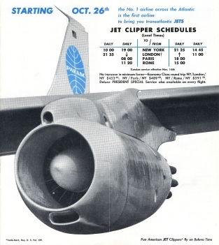 Timetable 1958Oct26FirstJetService LON-PAR-ROM