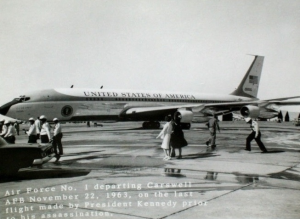 Air Force One departing Carswell Air Force Base for Dallas, Nov. 22, 1963 (Cecil Stoughton photo)