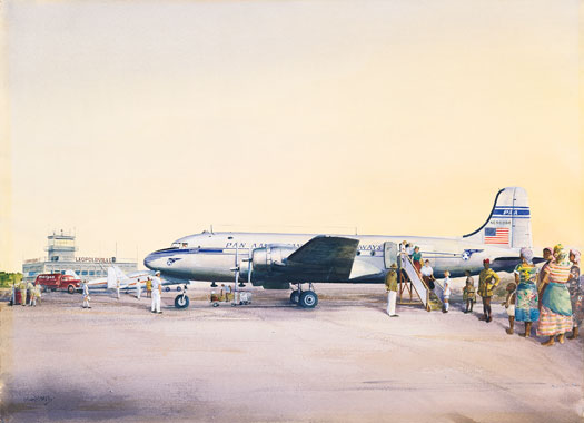 John T. McCoy watercolor of the inauguration of service to Africa.