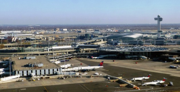 Overhead view of Terminal 2 (left), Pan Am's terminal after Delta took over the Worldport (Terminal 3, right)(photo from Airchive)