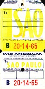 Baggage tag for Sao Paulo from 1950s era.