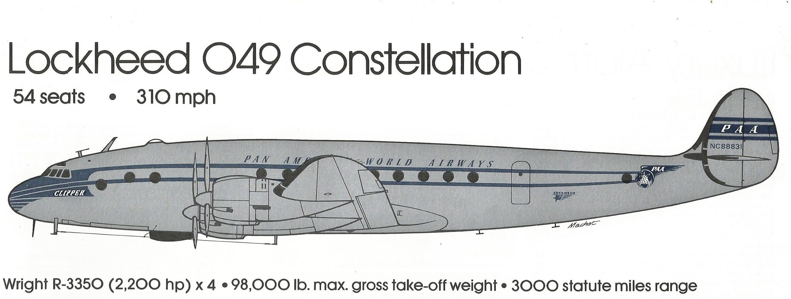 Lockheed 049 Constellation (Illustration by Mike Machat  in Ron Davies' Pan Am - An Airline and Its Aircraft)