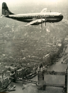 Stratocruiser over Tower Bridge, London
