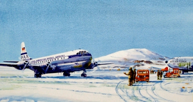 Clipper America arriving in Antarctica, 15 October 1957 (John T McCoy watercolor).