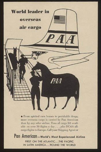 1950s Clipper cargo horse ad everything paa