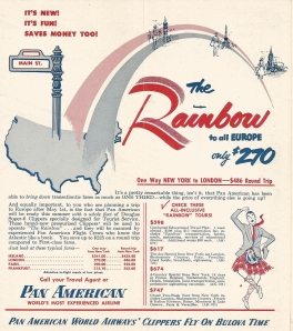 Pan American announces the new Rainbow Service with the Super Six in the april 1952 timetable.