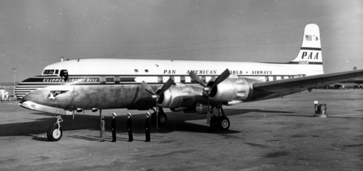 Clipper Liberty Bell. This aircraft inaugurated the all-tourist Rainbow Service on the New York-London Route (Allen Clarke photo)