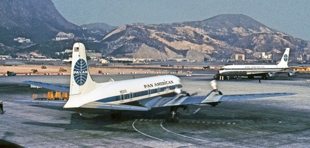 DC-6B and Boeing 707 at Hong Kong (Jon Proctor)