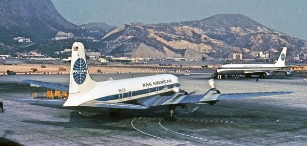 DC-6B and Boeing 707 at Hong Kong (Jon Proctor)