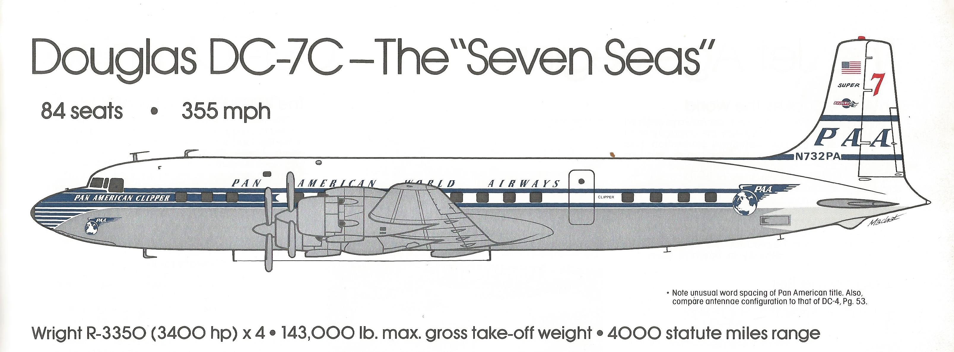 The DC-7C - Drawing by Mike Machat in Pan Am - An Airline and its Aircraft