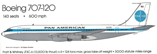 Boeing 707-120 - Mike Machat drawing from Pan Am - An Airline and Its Aircraft, by Ron Davies