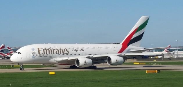 EK A380 at LHR 041916