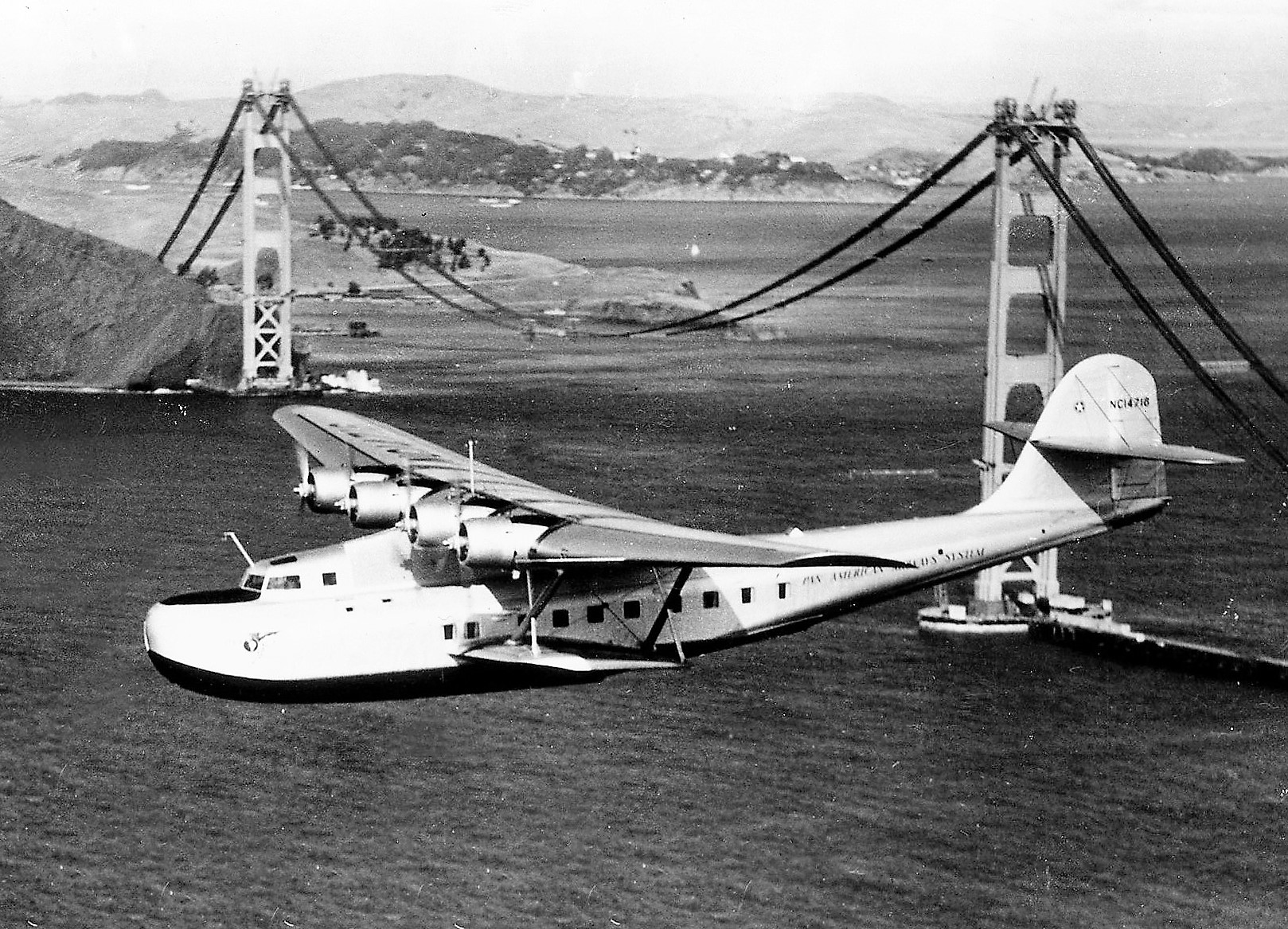 China Clipper passing GG Bridge 1935